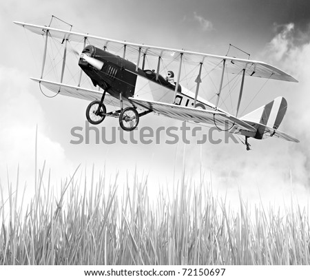 Vintage style picture of a flying biplane (homemade radio controlled scale-model 1:24 scale)