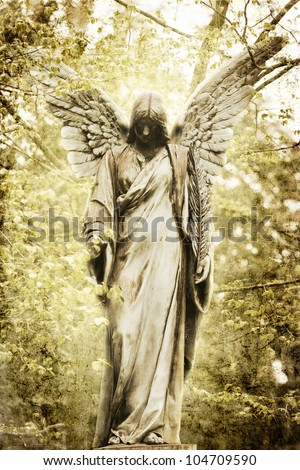 vintage style picture of an ancient angel statue