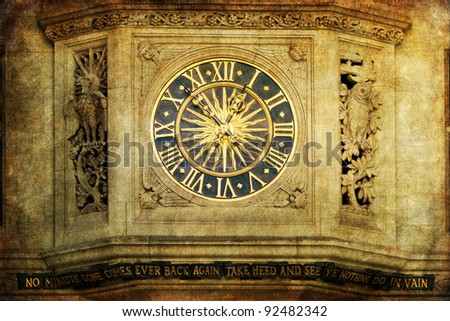 vintage style picture of an antique clock at an ornamental medieval house front