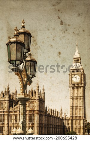 vintage style picture of an old street lamp with the Big Ben and the Westminster Palace in the background