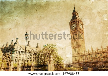 vintage style picture of London with Big Ben