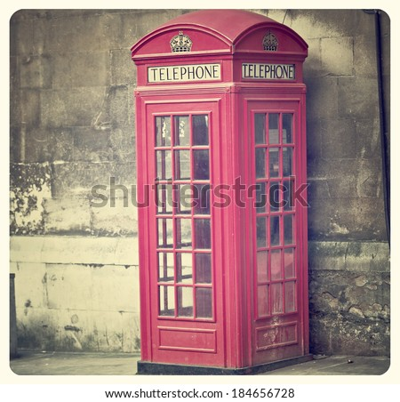 Vintage Style picture of Telephone Box in London with Instagram effect filter