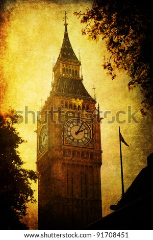 vintage style picture of the Big Ben in London