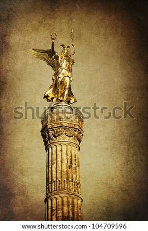 vintage style picture of the triumphal column in Berlin Germany