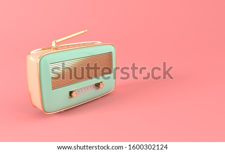 Vintage style radio receiver on podium. Pastel colors and golden details. Retro radio realistic 3d render stock photo