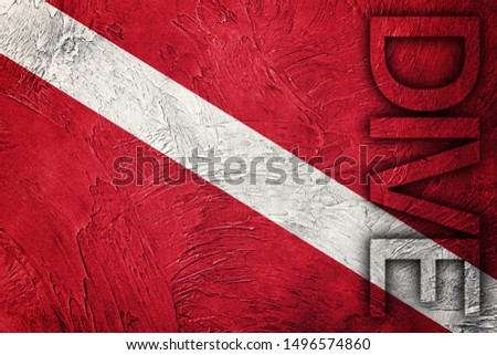 Vintage style scuba flag. Diver down flag #1496574860