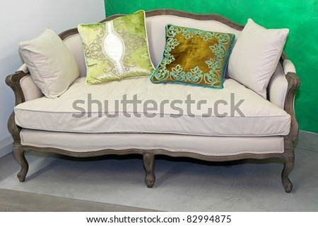 Vintage Style Sofa With Pillows In Living Room Stock Photo ...