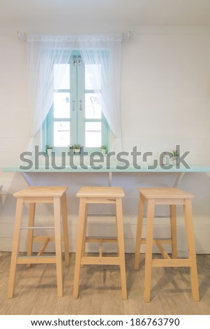 Vintage style table and chair  and simple decoration
