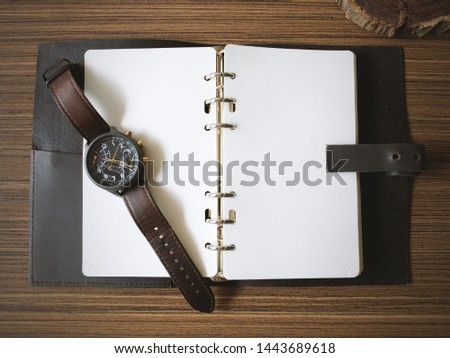 Vintage Style, Vintage Watch on Paper, Watch and NoteBook on Wooden Table, Concept Vintage, Concept Vintage, Style Copy Text Space #1443689618