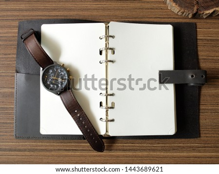 Vintage Style, Vintage Watch on Paper, Watch and NoteBook on Wooden Table, Concept Vintage, Concept Vintage, Style Copy Text Space #1443689621