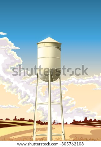 vintage style water tower.