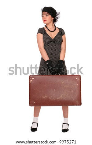 Vintage styled portrait of a woman with a suitcase over white background.