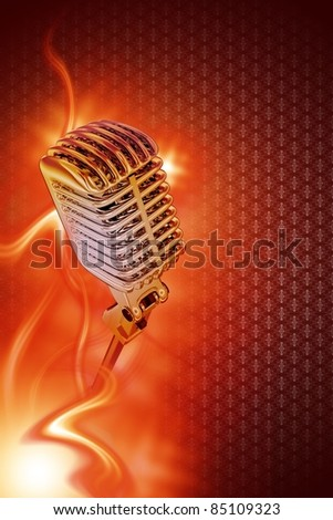 Vintage Stylish Microphone in Flames. Karaoke Theme. Great Design for Your Karaoke or Concert Event. Just Place Your Content. Karaoke Vertical Copy Space Background