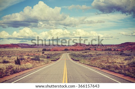 Vintage stylized desert road, travel concept.