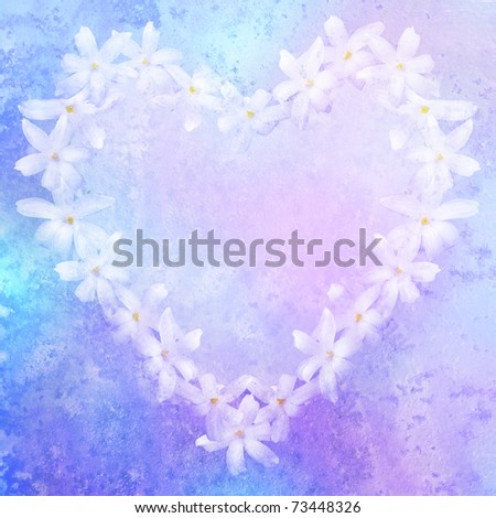vintage stylized floral heart with patina texture, background for your text