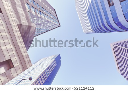 Vintage stylized photo of skyscrapers in Denver (Colorado), space for text.