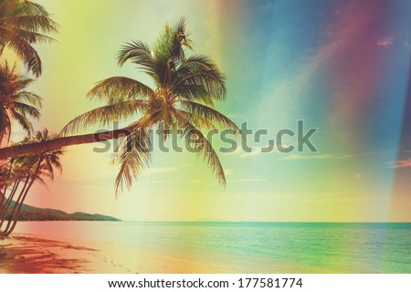 vintage stylized tropical beach ...