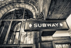 Vintage subway sign in Manhattan, New York City.