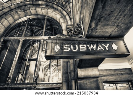 Vintage subway sign in Manhattan, New York City. #215037934