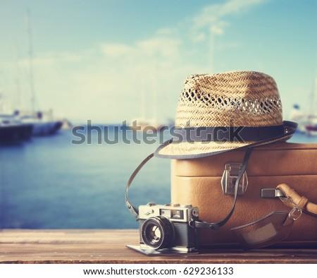 vintage suitcase  hipster hat ...
