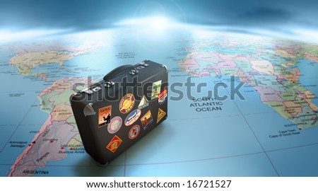 Vintage suitcase on world map