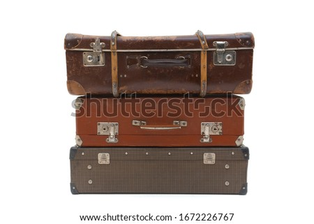 Vintage Suitcase over a white background. Isolated Stock photo ©