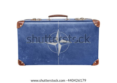 vintage suitcase with nato flag