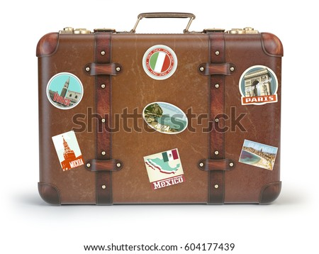 Vintage suitcase with travel stickers isolated on white background. 3d illustration.