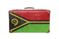 Vintage suitcase with Vanuatu flag