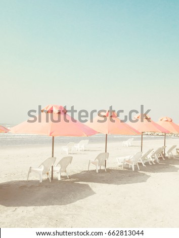 vintage summer beach with pink...