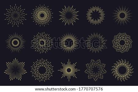 Vintage sunburst frames. Radiant sunburst lines, hands drawn sunbursts badges, firework sparks rays. Radiant star burst isolated icons set. Hand drawn badge radiant sun illustration