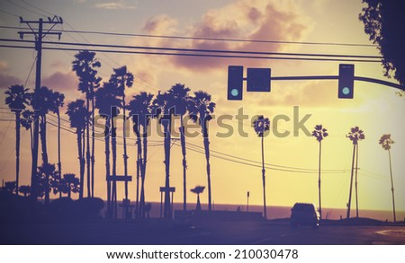 Stock Photo Vintage sunset picture of palms and poles on street against sun.