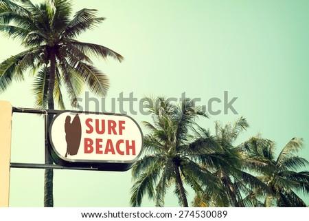 vintage surf beach signage and...