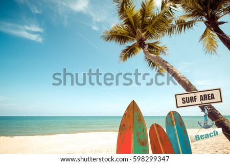 vintage surf board with palm...