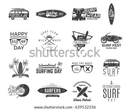 Vintage Surfing Graphics and Emblems set for web design or print. Surfer, beach style logo design. Surf Badge. Surfboard seal, elements, symbols. Summer boarding on waves. hipster insignias.