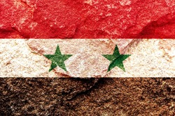 Vintage Syria national flag icon pattern isolated on weathered solid rock wall background, abstract positive design faithful Syrian politics society concept texture wallpaper, Middle East crisis