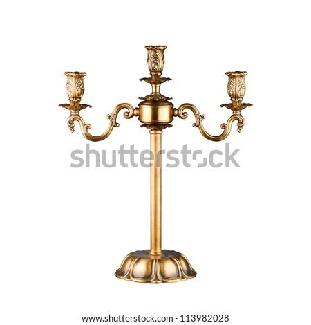 Vintage table candlestick isolated on white with clipping path