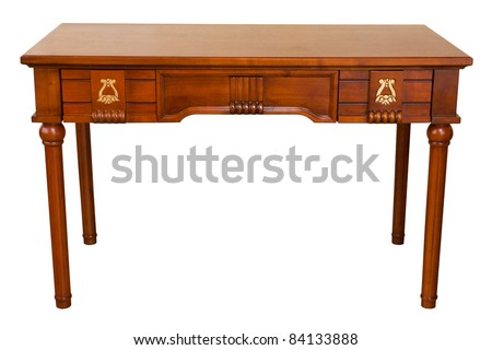 vintage table isolated on white with path
