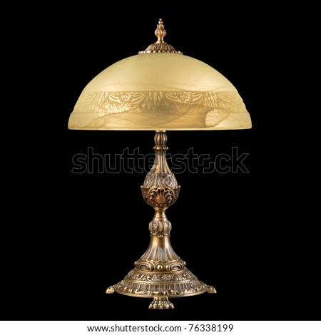 vintage table lamp isolated on black