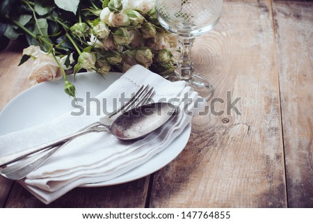 vintage table setting with...