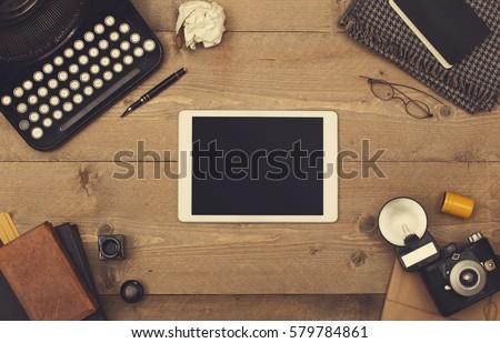 vintage tablet hero header #579784861