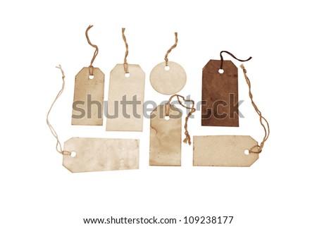 Vintage tags on white