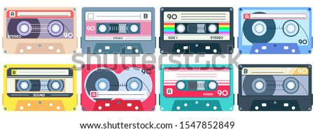 Vintage tape cassette. Retro mixtape, 1980s pop songs tapes and stereo music cassettes. 90s hifi disco dance audiocassette, analogue player record cassette. Isolated symbols set