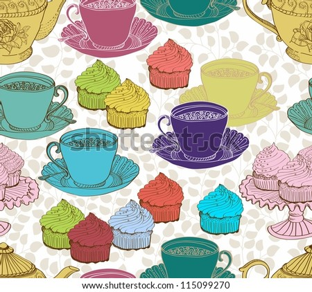 vintage tea background. seamless pattern for design
