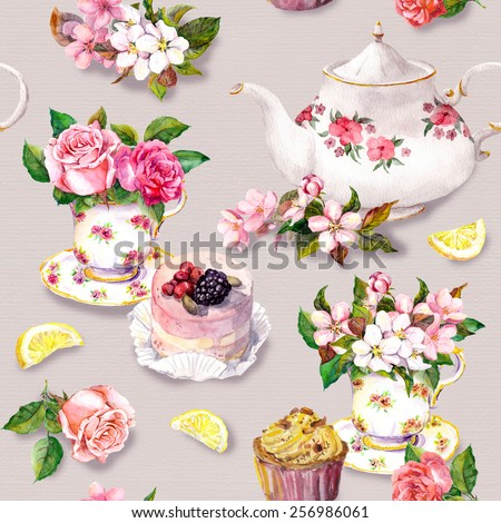 Vintage tea pattern with flowers in tea cup, cake and teapot. Floral watercolor. Seamless background