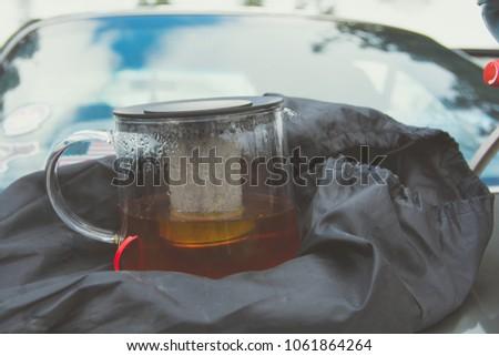 vintage tea pot filled with tea ...
