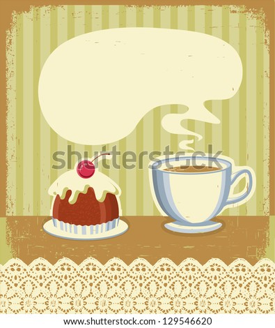 Vintage tea time background with sweet desert.Raster