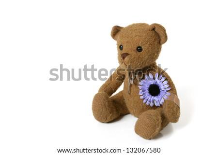 Vintage Teddy Bear with Purple Flower