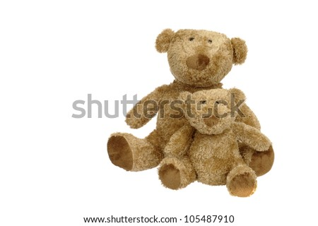 vintage teddy bears. isolated on white
