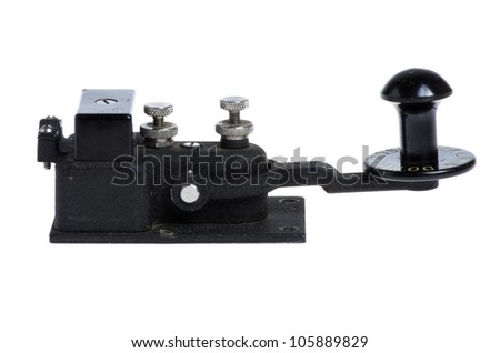 Vintage telegraph key or switch isolated on white - stock photo